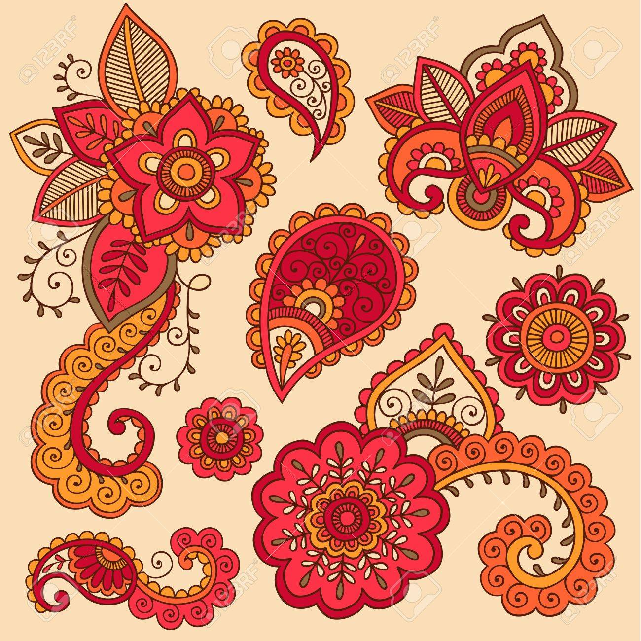 Henna Flowers and Paisley Mehndi Tattoo Doodle Set Stock Vector - 16693319