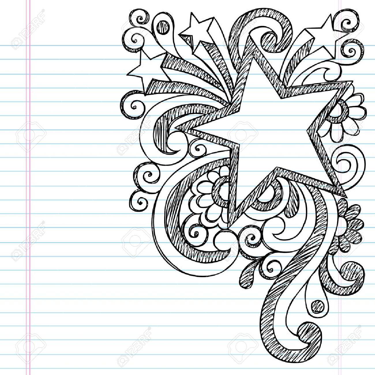 Star Frame Border Back to School Sketchy Notebook Doodles- Vector Illustration Design on Lined Sketchbook Paper Background Stock Vector - 16693242