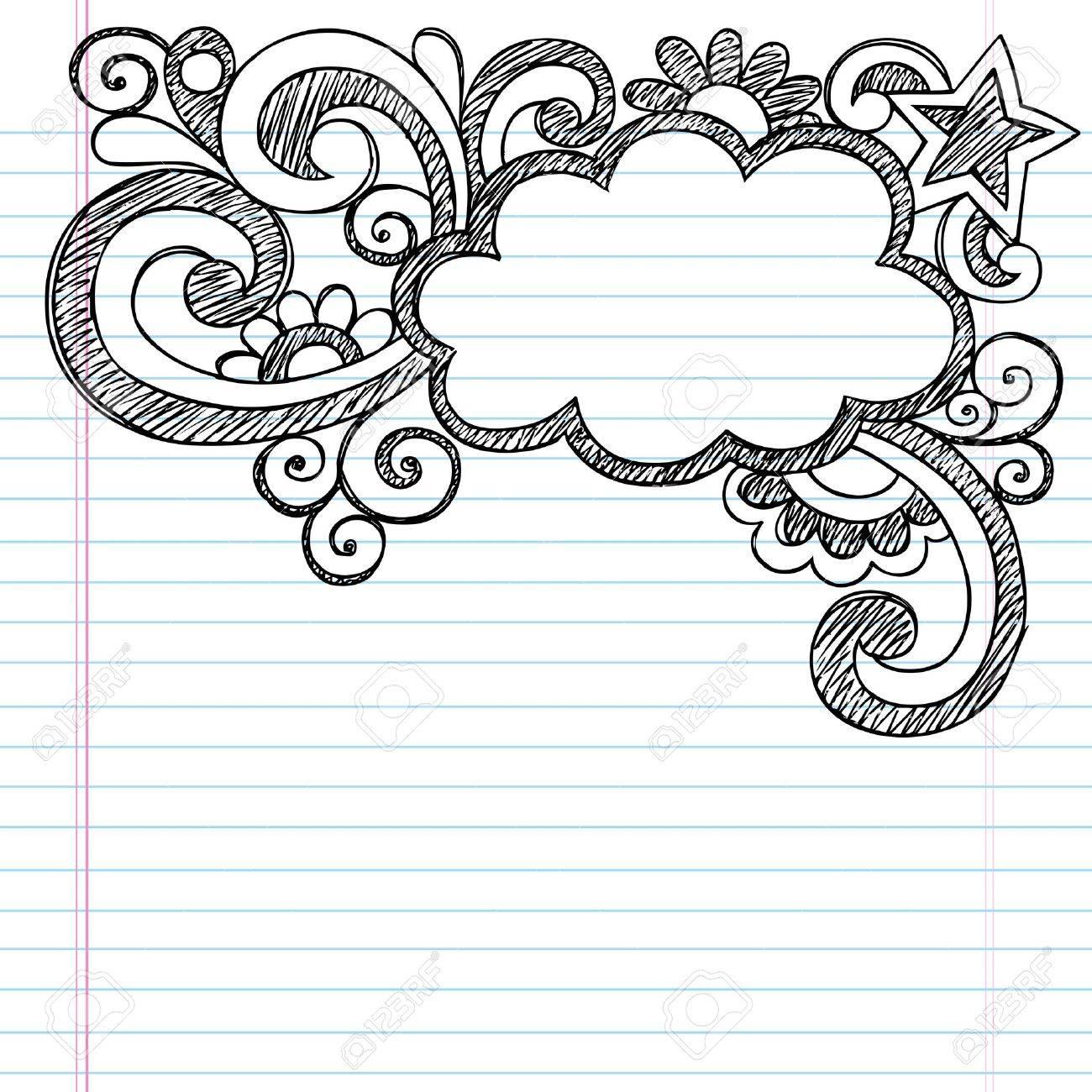 Cloud Frame Border Back to School Sketchy Notebook Doodles- Vector Illustration Design on Lined Sketchbook Paper Background Stock Vector - 16693239