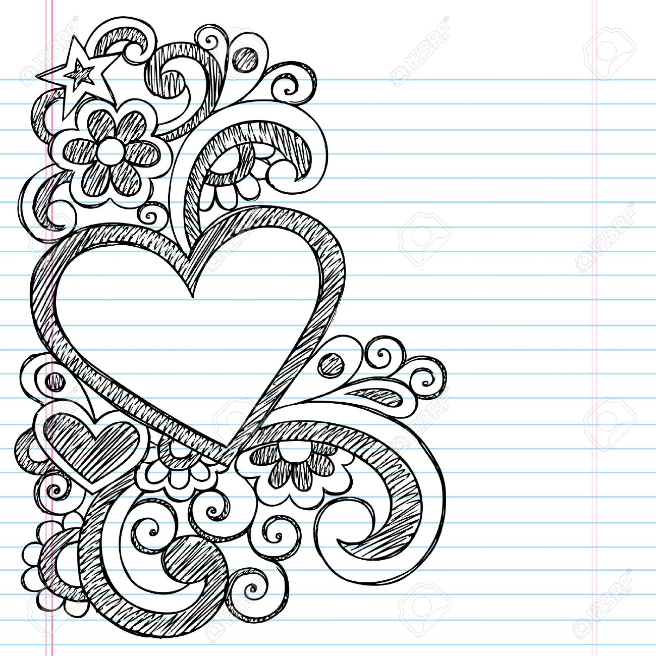 Heart Frame Border Back To School Sketchy Notebook Doodles  Vector  Illustration Design On Lined Sketchbook  Lined Border Paper
