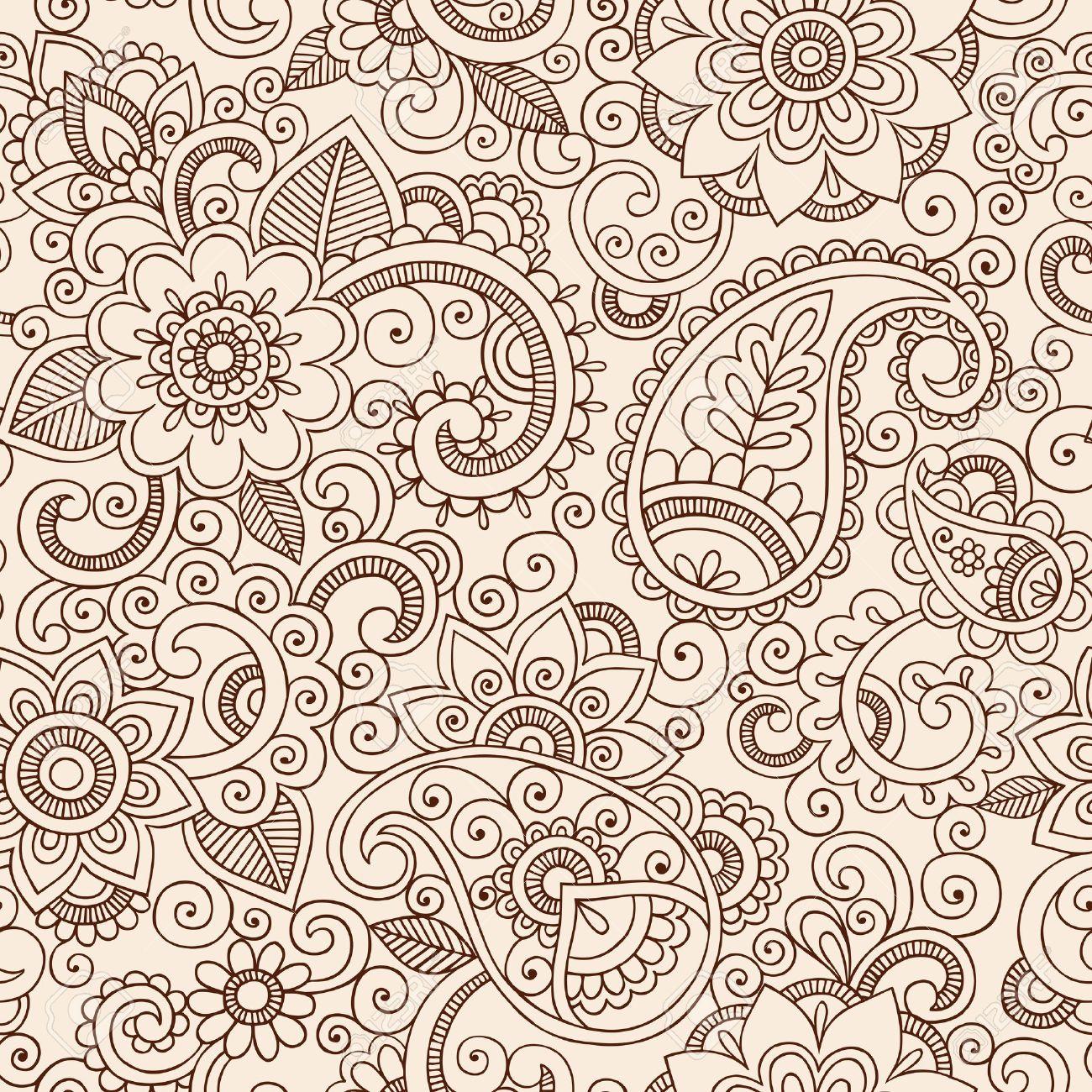 Henna Mehndi Tattoo Doodles Seamless Pattern- Paisley Flowers Vector Illustration Design Elements Stock Vector - 17164985
