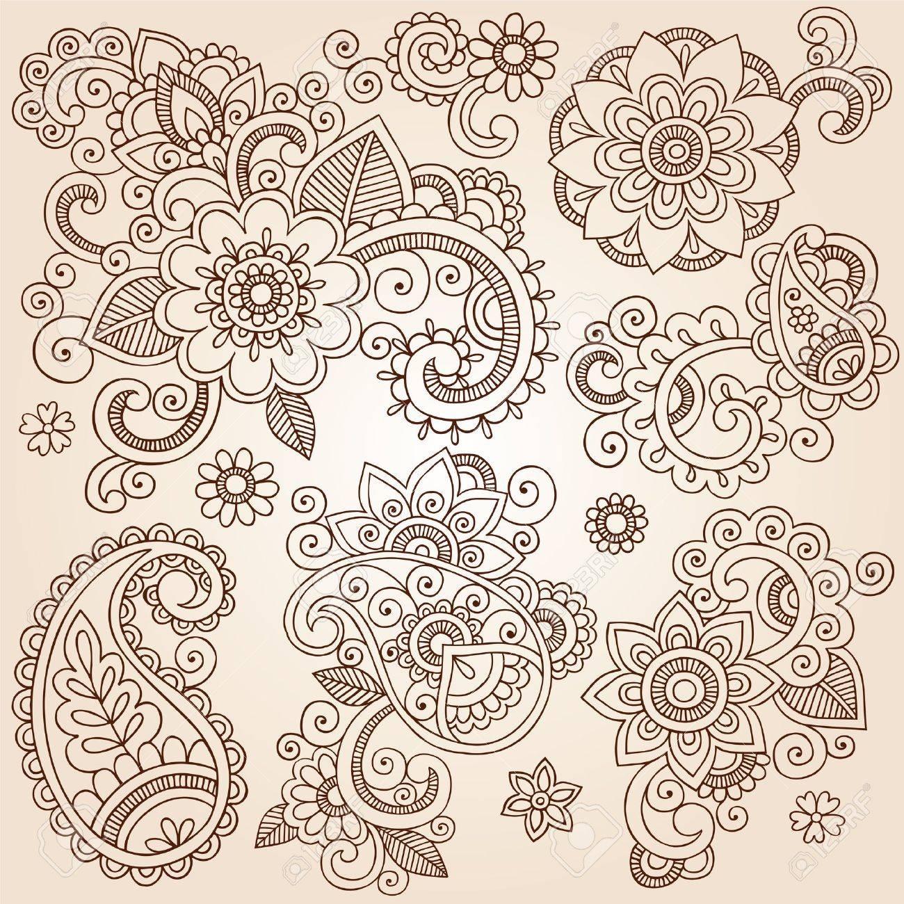 Henna Paisley Flowers Mehndi Tattoo Doodles Set- Abstract Floral Vector Illustration Design Elements Stock Vector - 17164966