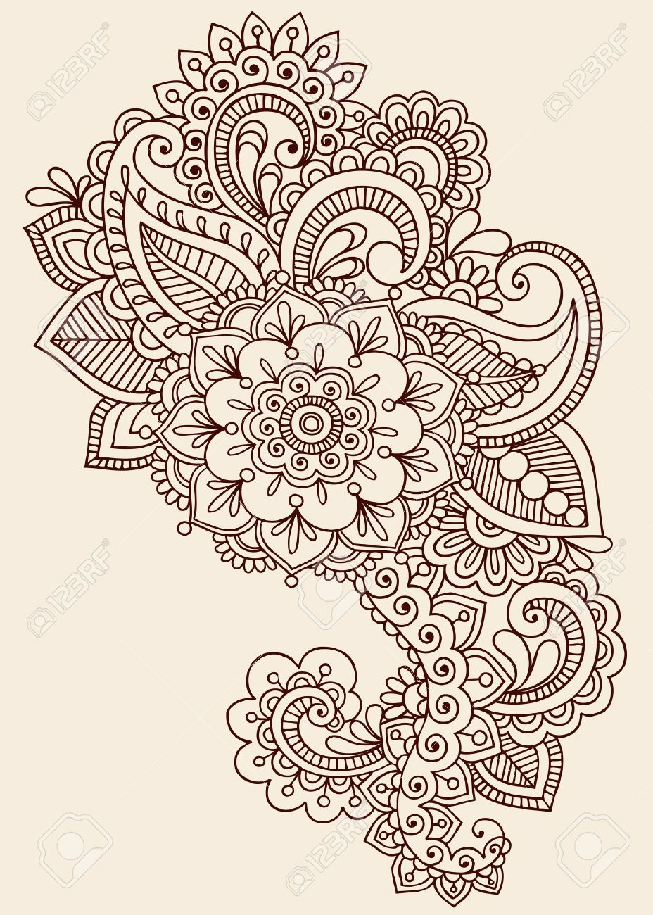 Henna Paisley Flowers Mehndi Tattoo Doodles Design- Abstract Floral Stock Vector - 17164965