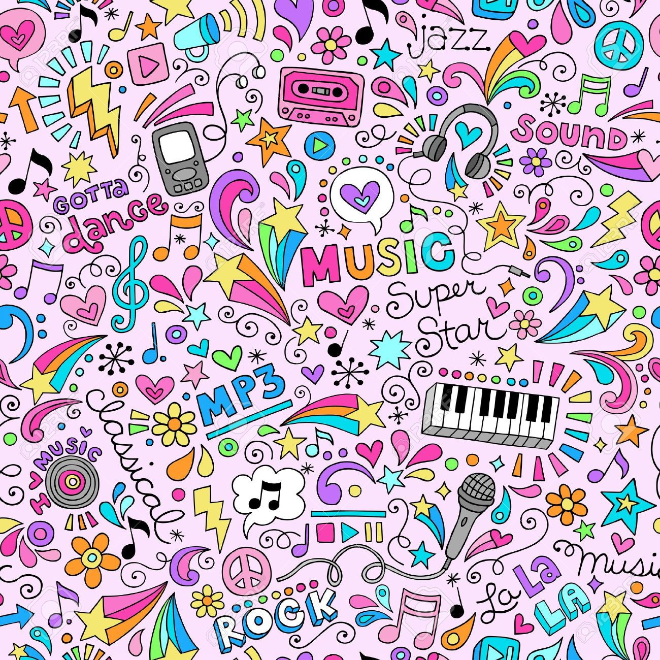 Music Groovy Doodles Illustration Hand-Drawn Design Elements Stock Vector - 17165015