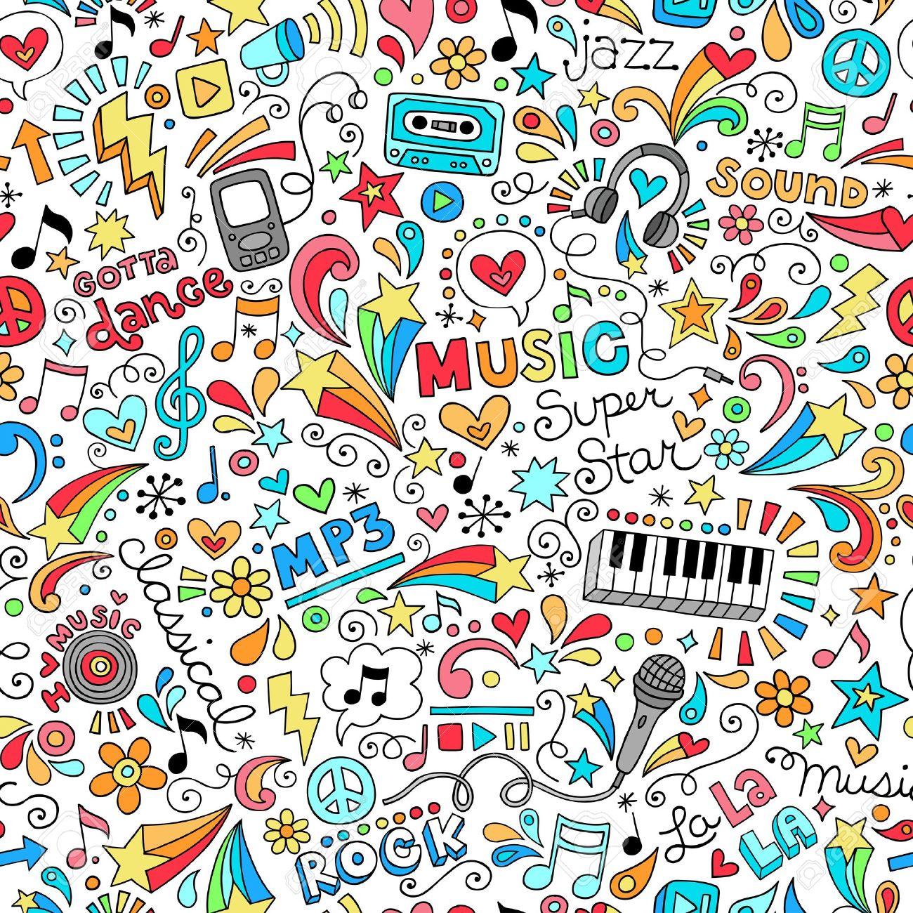 Music Groovy Doodles Vector Illustration Hand-Drawn Design Elements Stock Vector - 17164989