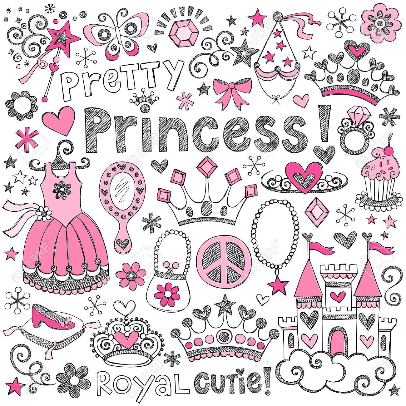 Hand-Drawn Sketchy Fairy Tale Princess Tiara Crown Notebook Doodle Design Elements Set Vector Illustration Stock Vector - 17164990