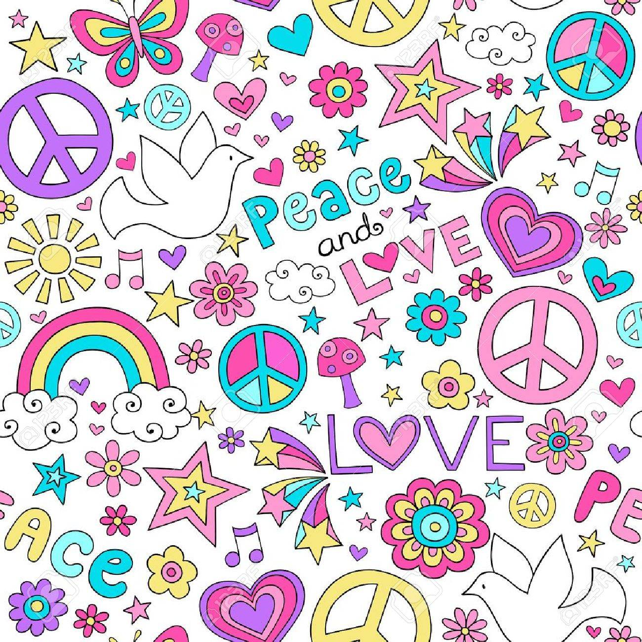 Seamless Pattern Doves Groovy Peace Notebook Doodle Design- Hand-Drawn Vector Illustration Background Stock Vector - 17165005