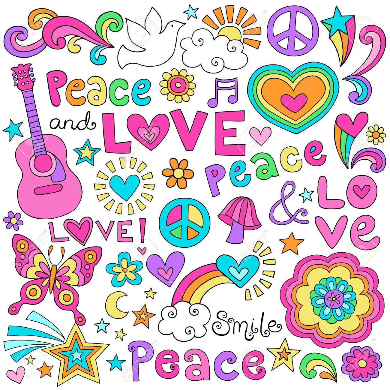 Peace Love and Music Flower Power Groovy Psychedelic Notebook Doodles Set with Peace Signs, Dove, Acoustic Guitar Stock Vector - 17456022