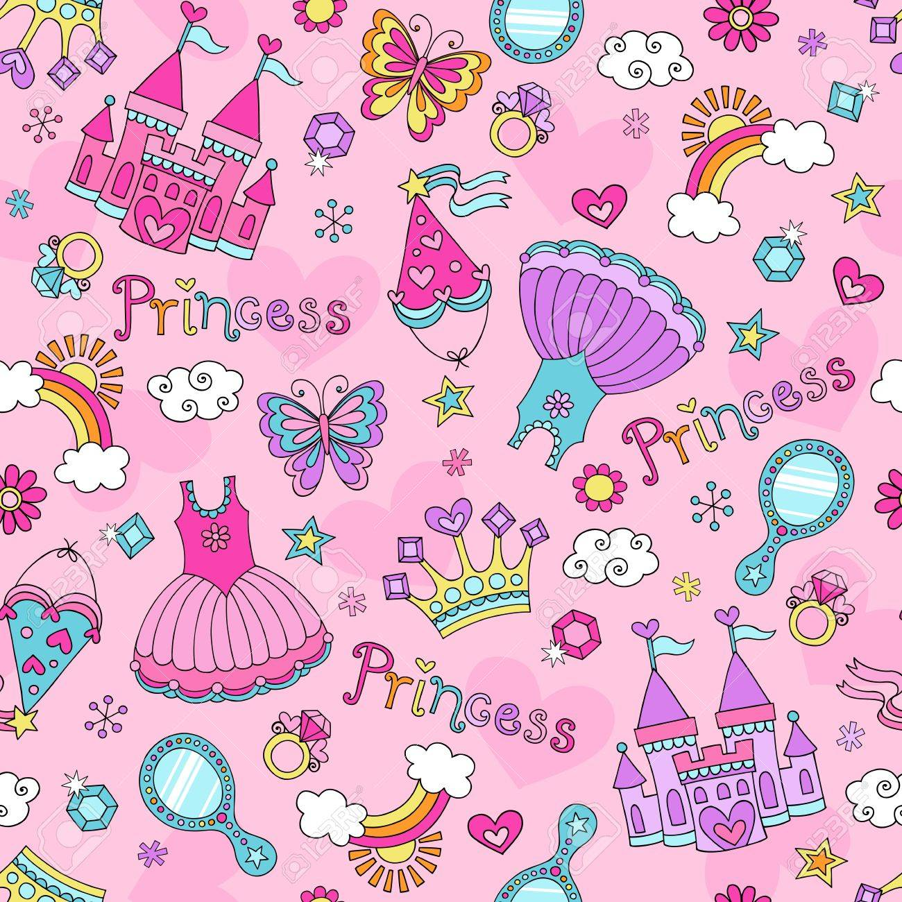 Fairytale Princess Seamless Pattern with Tiara, Crown, Castle, and Tutu- Notebook Sketchy Doodle Design Elements  Design Stock Vector - 17456025