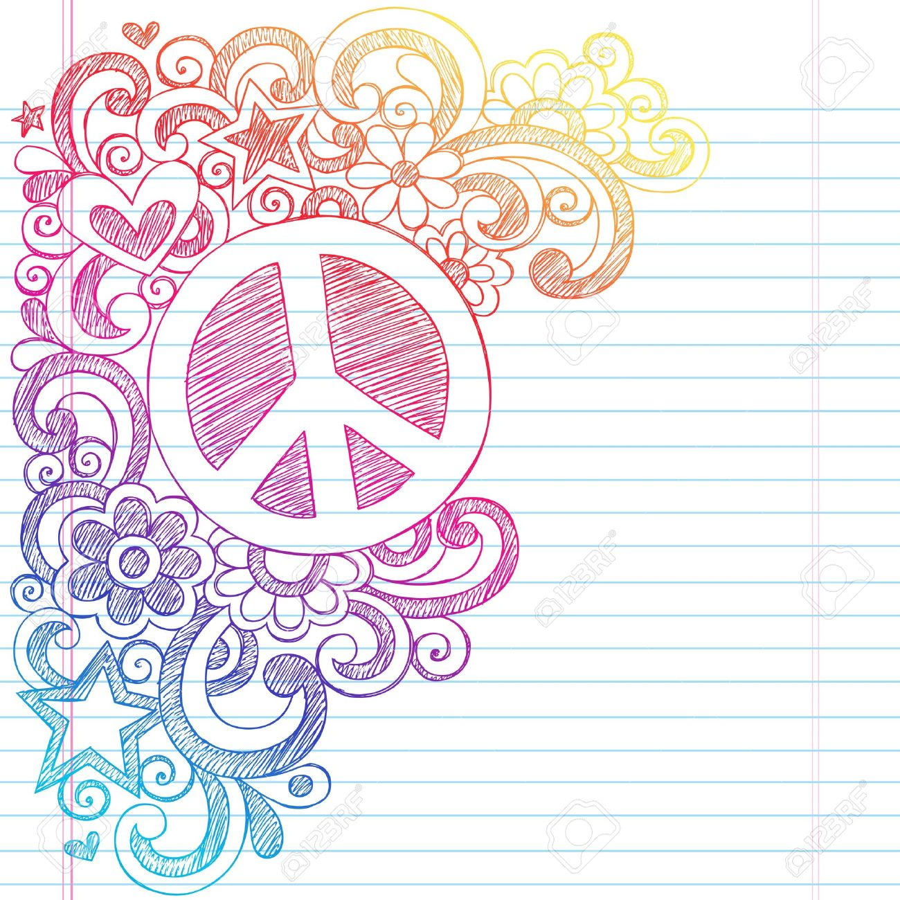 Peace Sign and Love Psychedelic Back to School Sketchy Notebook Doodles- Illustration Design on Lined Sketchbook Paper Background Stock Vector - 18705028