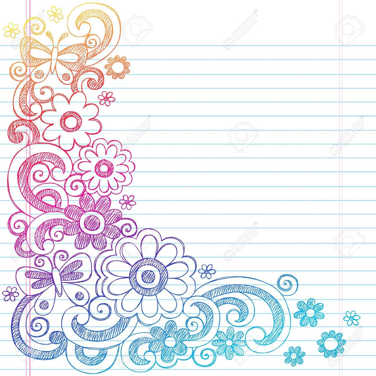 Springtime Flower Power and Butterflies Back to School Sketchy Notebook Doodles-  Illustration Design on Lined Sketchbook Paper Background Stock Vector - 18705022