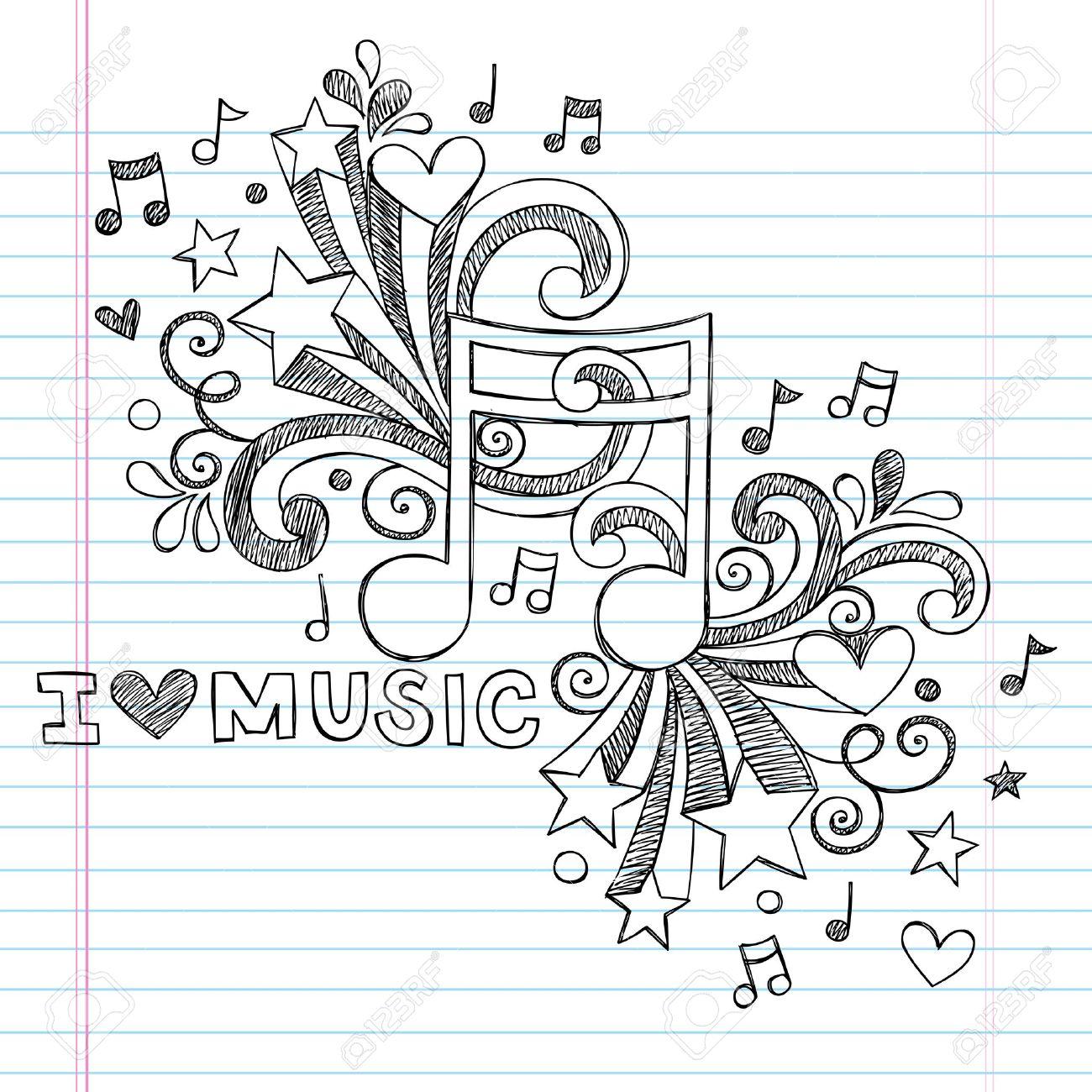 Music Note I Love Music Back to School Sketchy Notebook Doodles- Hand-Drawn Illustration Design Elements on Lined Sketchbook Paper Background Stock Vector - 19090357