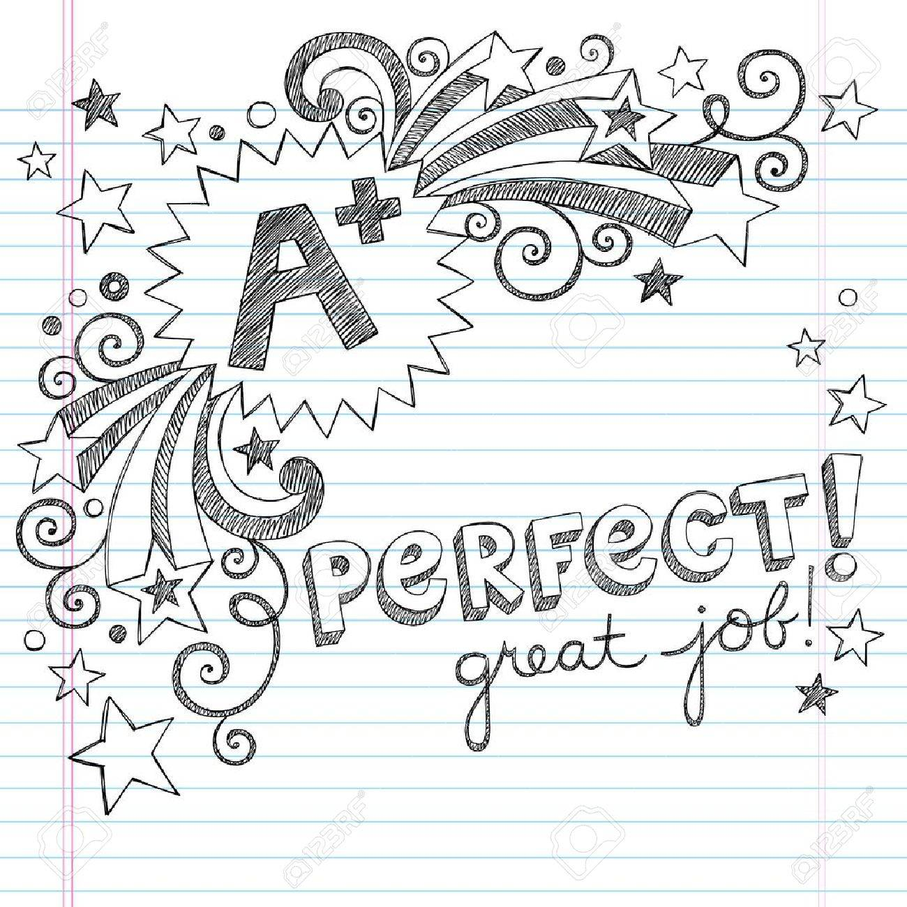 A Plus Student Great Grades Back to School Sketchy Notebook Doodles with Lettering, Shooting Stars, and Swirls- Hand-Drawn Illustration Design Elements on Lined Sketchbook Paper Background Stock Vector - 19090389