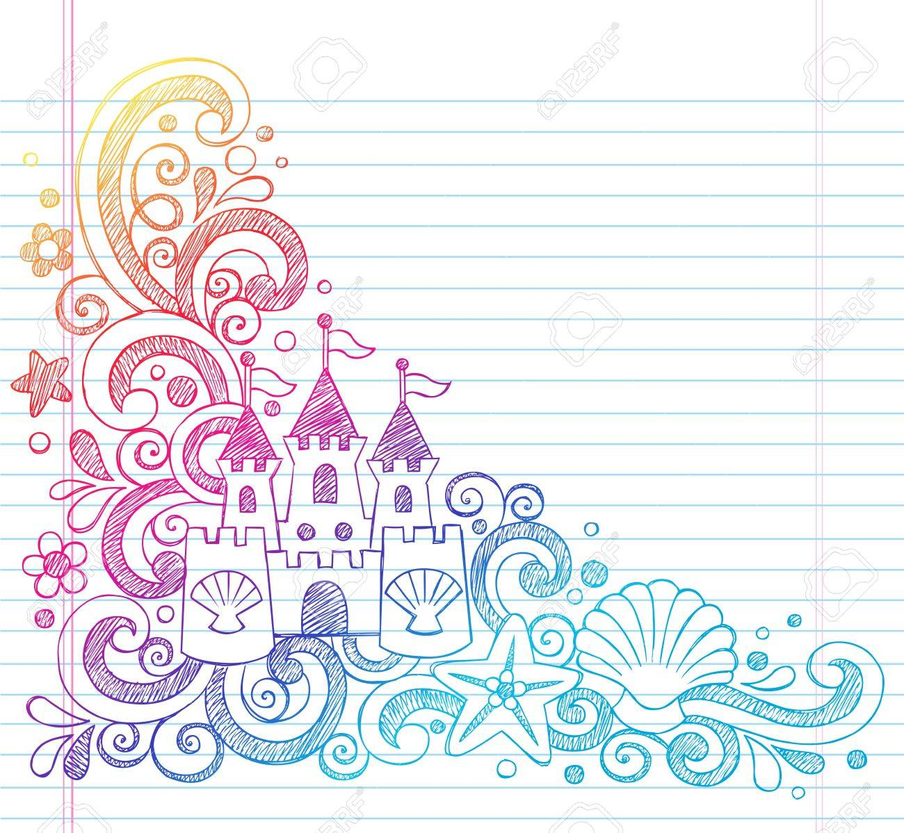 Sandcastle Tropical Beach Summer Vacation Sketchy Notebook Doodles- Hand Drawn  Illustration on Lined Sketchbook Paper Background Stock Vector - 19475578