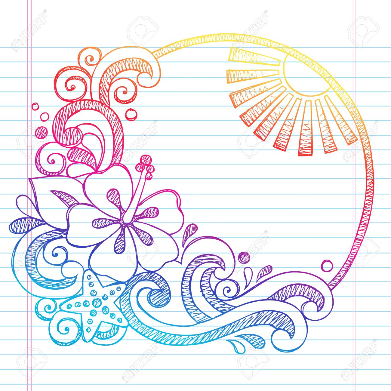 Hibiscus Flower Tropical Beach Summer Vacation Sketchy Notebook Doodles- Hand Drawn  Illustration on Lined Sketchbook Paper Background Stock Vector - 19475573