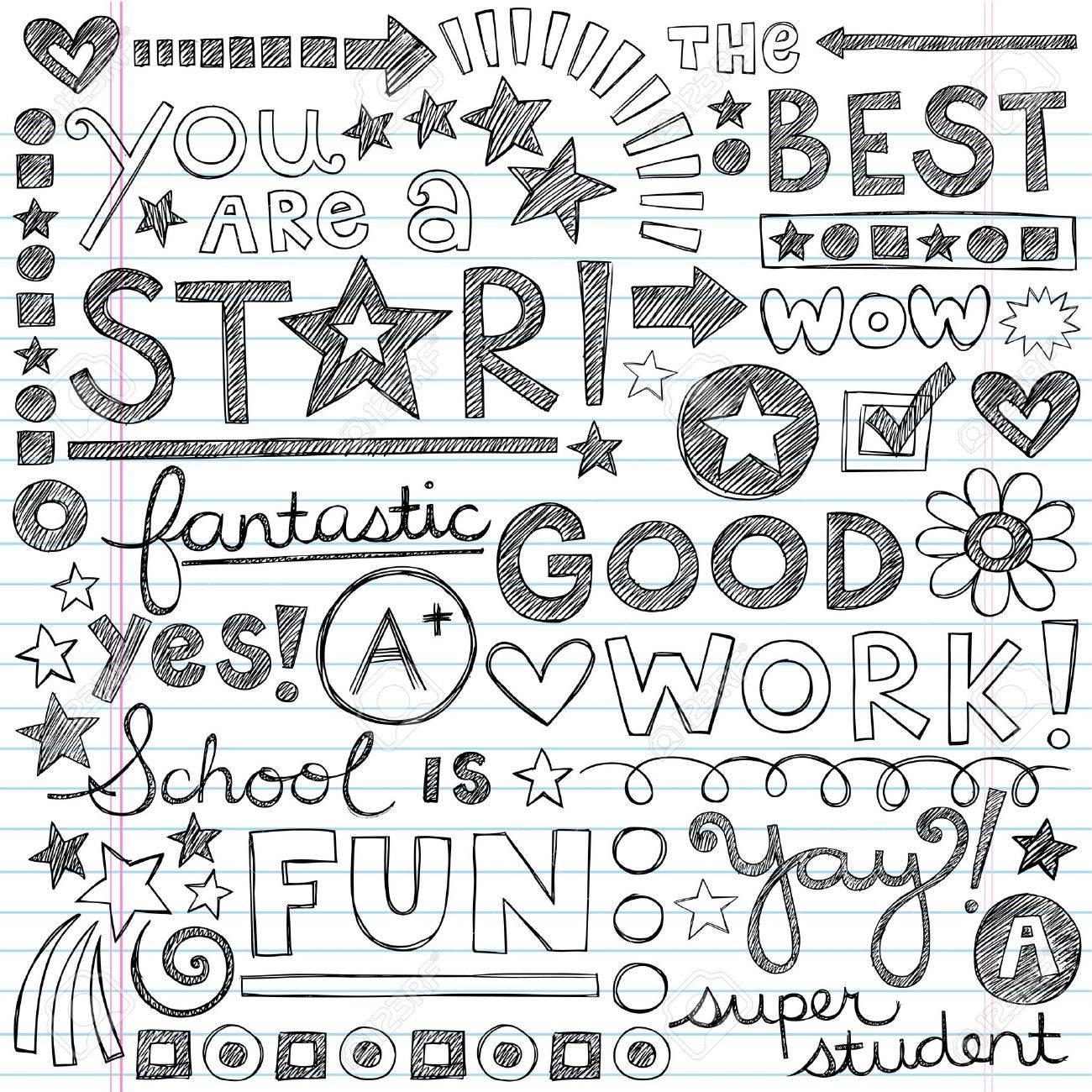 Great Work Super Praise Phrases Back to School Sketchy Notebook Doodles- Hand-Drawn Illustration Design Elements on Lined Sketchbook Paper Background Stock Vector - 19978385