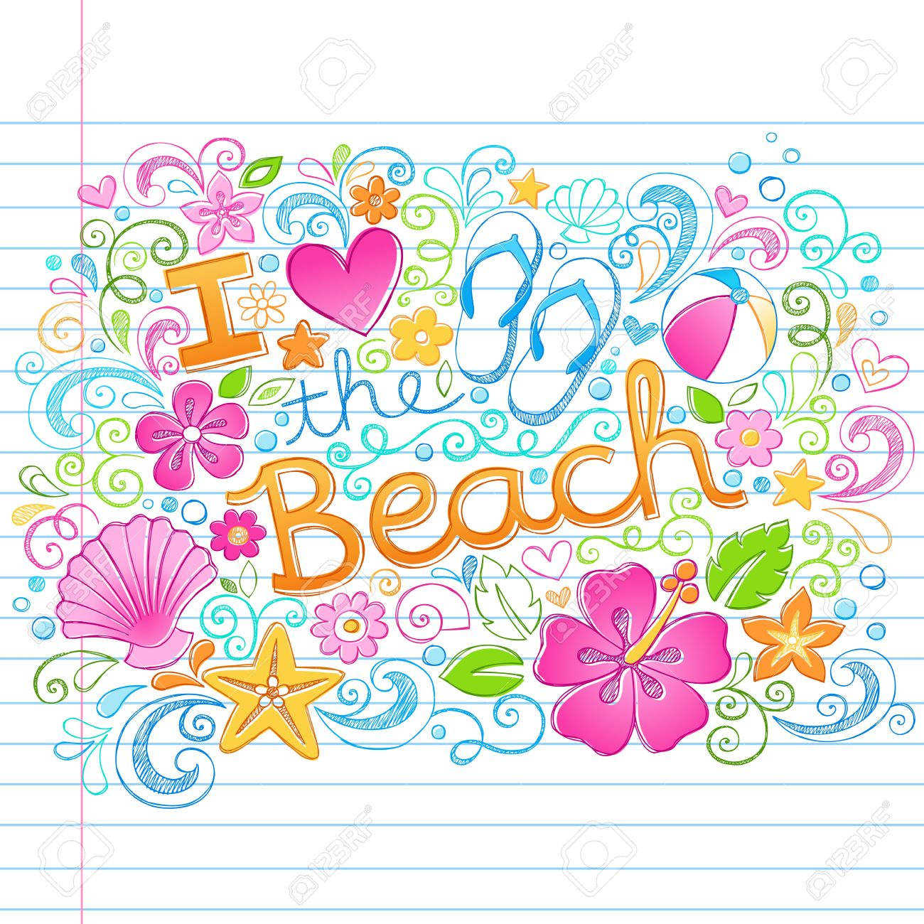 I Love the Beach Tropical Summer Vacation Sketchy Notebook Doodles with Hibiscus Flower, Flip-Flops, and Sea shells- Hand Drawn Illustration on Lined Sketchbook Paper Background Stock Vector - 20364022