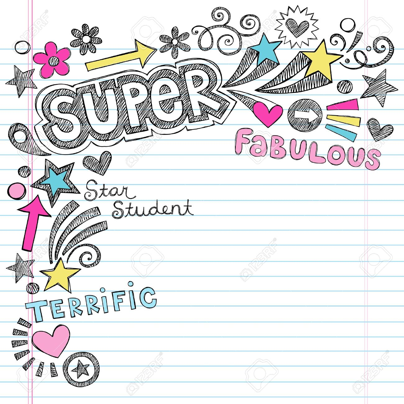 Super Student Back To School Notebook Doodles- Sketchy Hand-Drawn ...