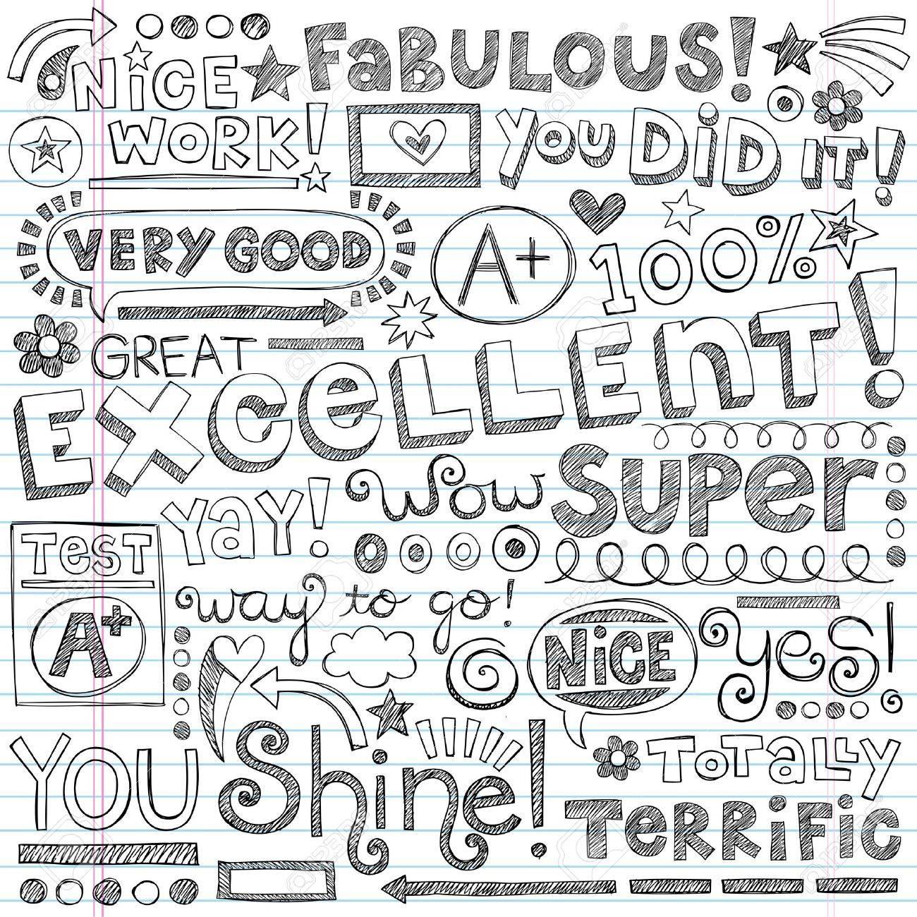 Super Excellent Student Praise Words of Encouragement Stock Vector - 21863067