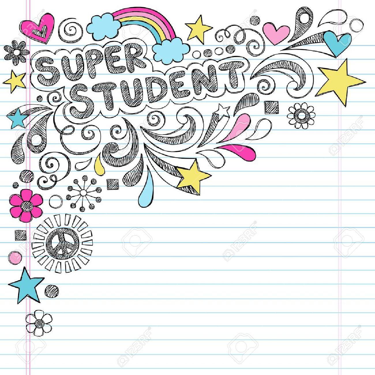 Super Student Back to School Rainbow Notebook Doodles Stock Vector - 21863068