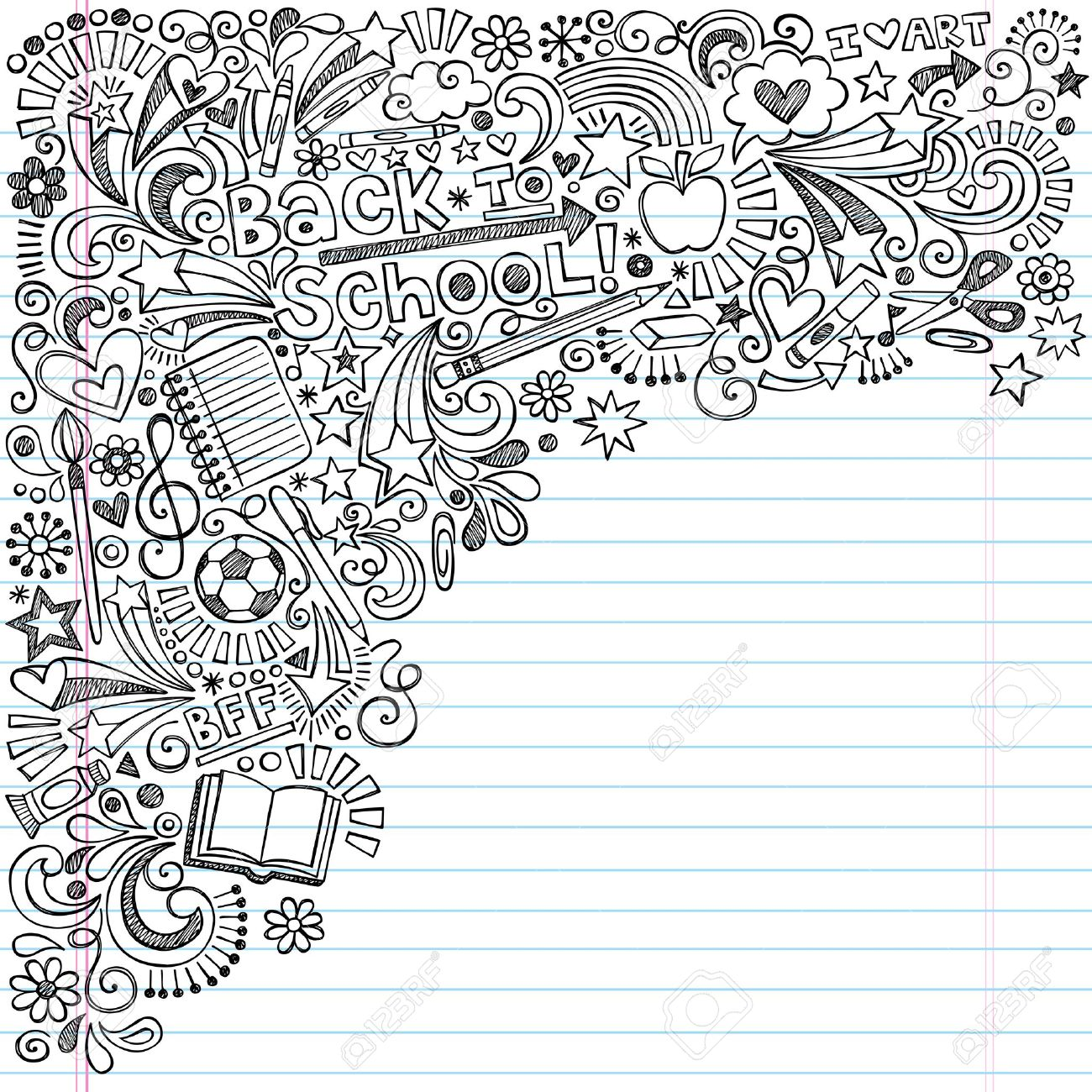 Inky Back to School Notebook Doodles with Apple, Soccer Ball, Art Supplies and Book- Hand-Drawn Vector Illustration Design Elements on Lined Sketchbook Paper Background Stock Vector - 22074880
