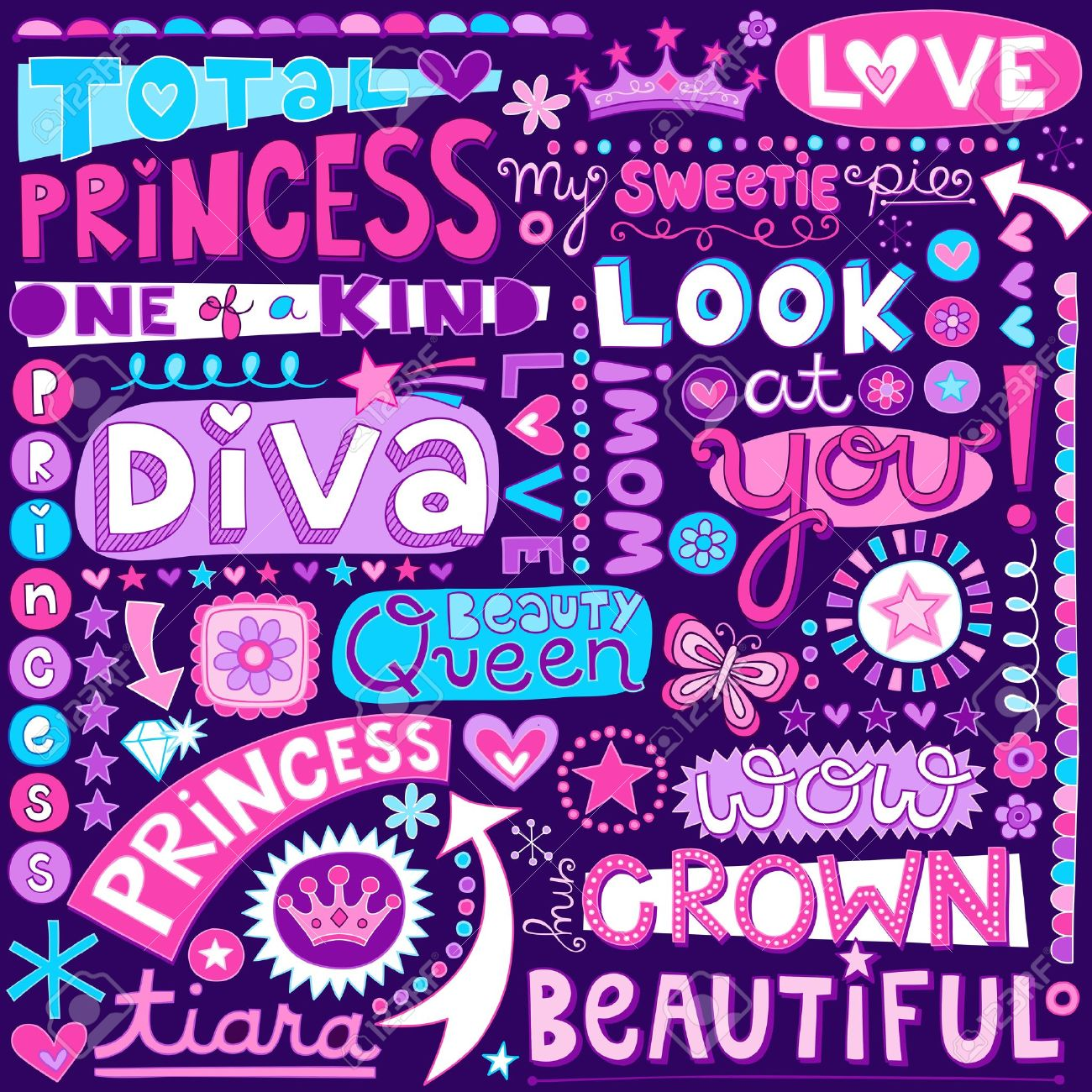 Princess Fairy Tale Diva Word Doodles Lettering  Illustration Stock Vector - 22257325