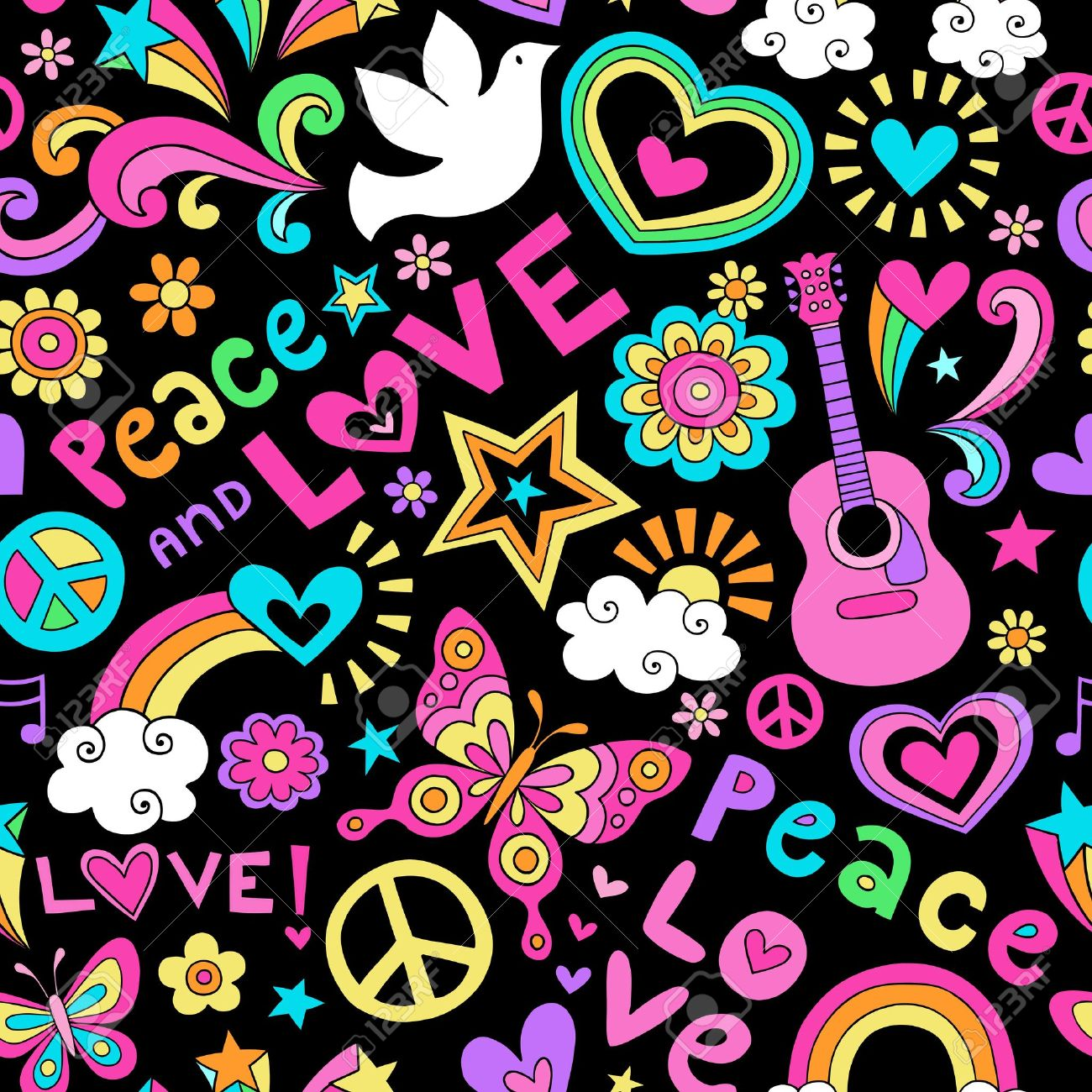Peace, Love, and Music Seamless Pattern Groovy Notebook Doodle Design- Hand-Drawn Illustration Background Stock Vector - 22074882