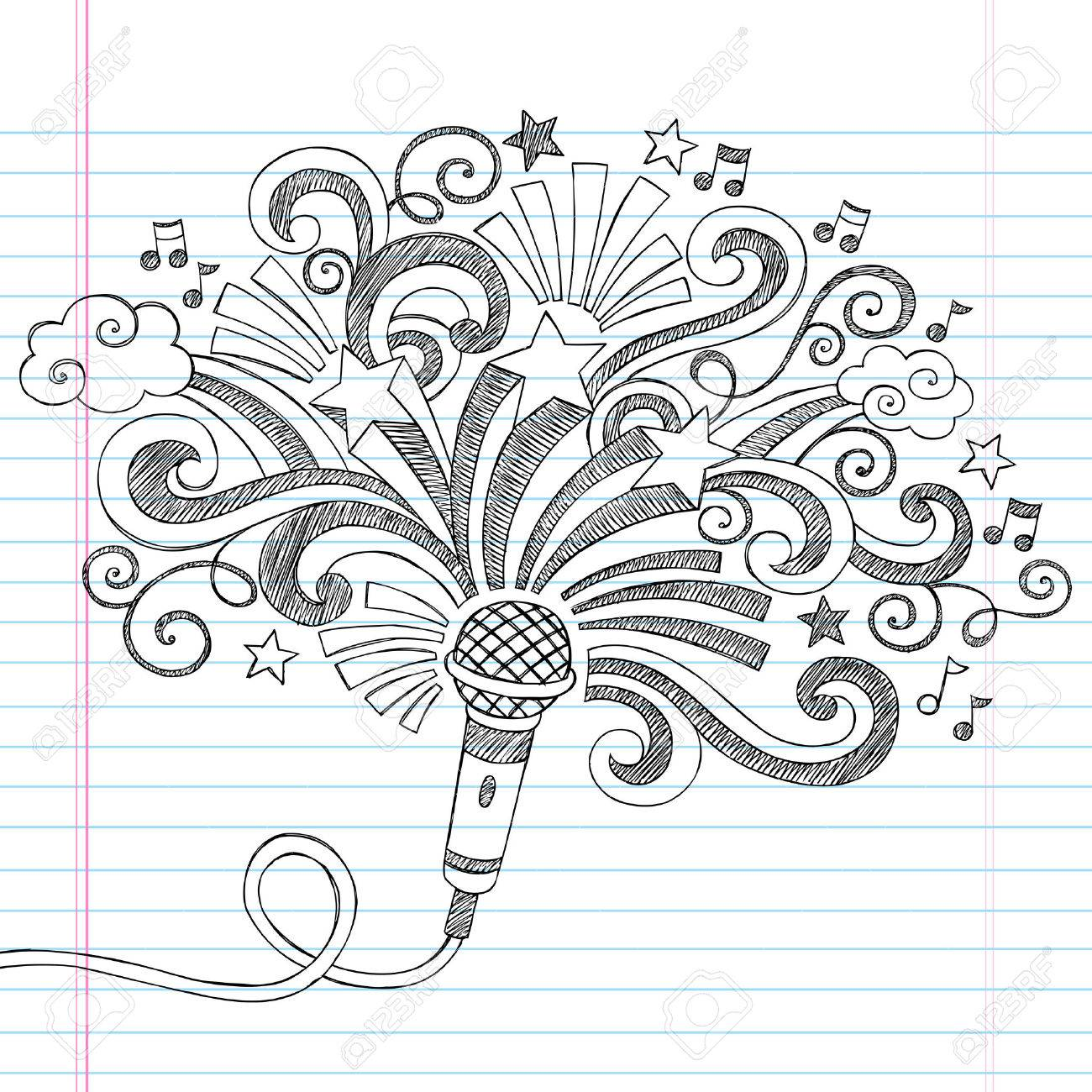 Microphone Music Back to School Sketchy Notebook Doodles Illustration Stock Vector - 22257326