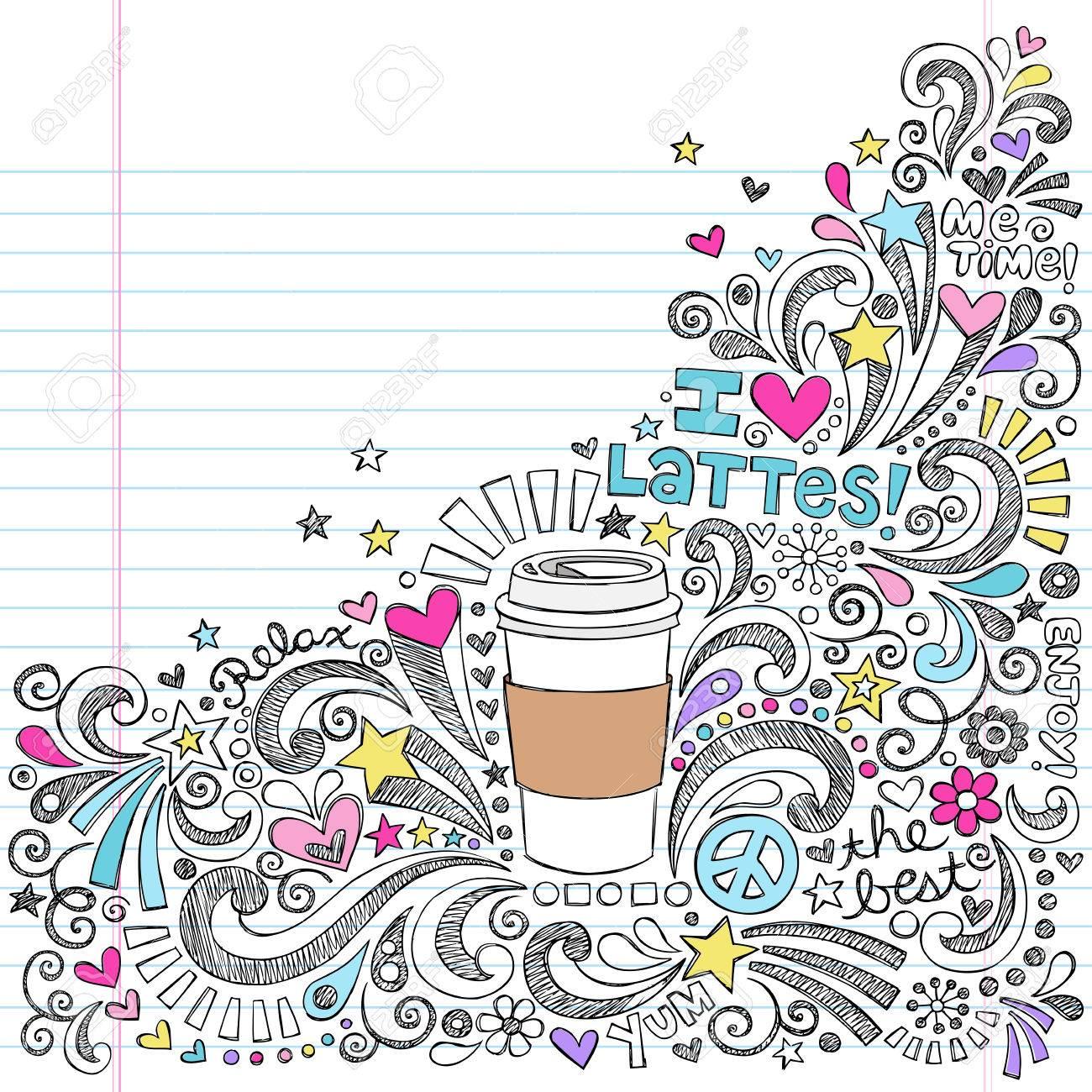 Coffee Latte Hot Drink Back to School Sketchy Notebook Doodles Stock Vector - 23288929