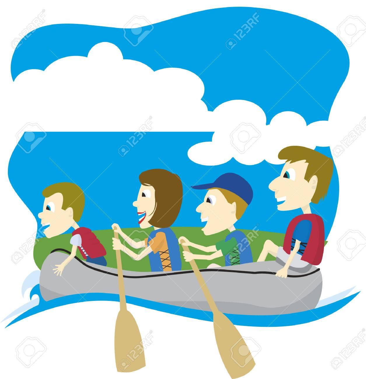 浮遊物旅行の家族のベクトル イラスト。 ロイヤリティフリークリップ