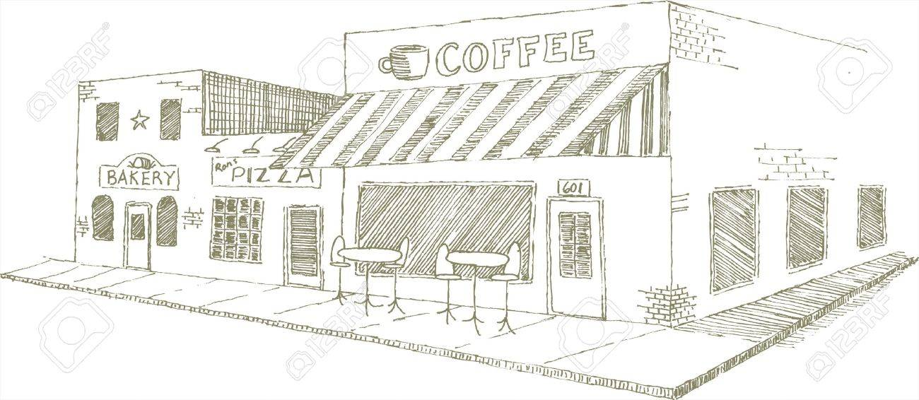 Pen and ink style illustration of an urban sidewalk cafe. Stock Vector - 7439835