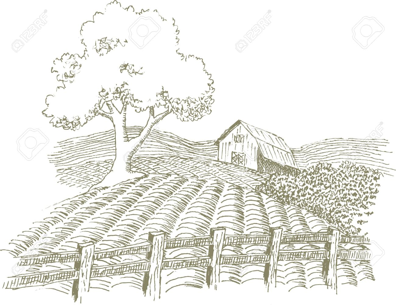 Pen and ink style illustration of a farm scene. - 7439836