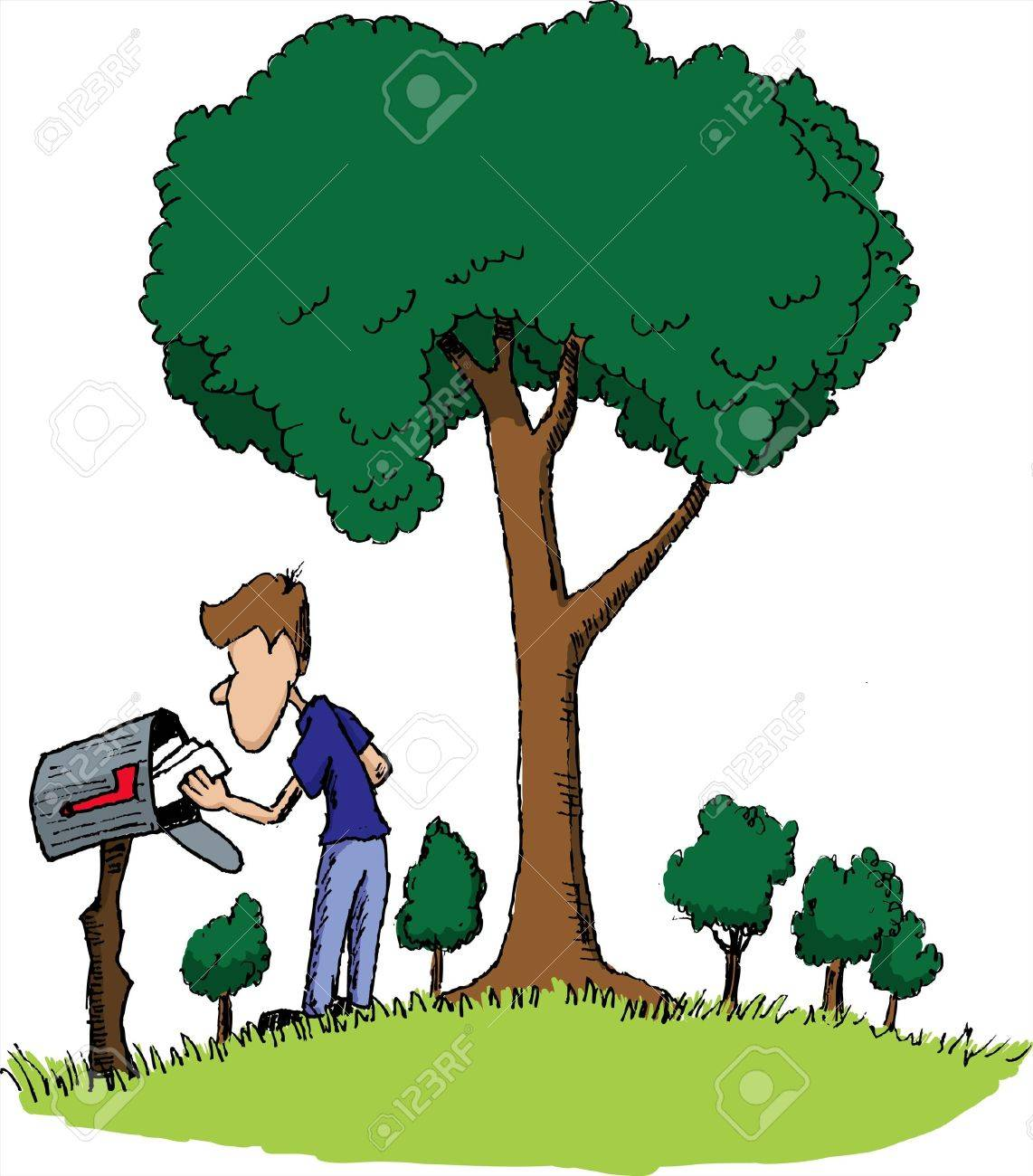 Pen and ink style illustration of a man getting his mail. Stock Vector - 7439815