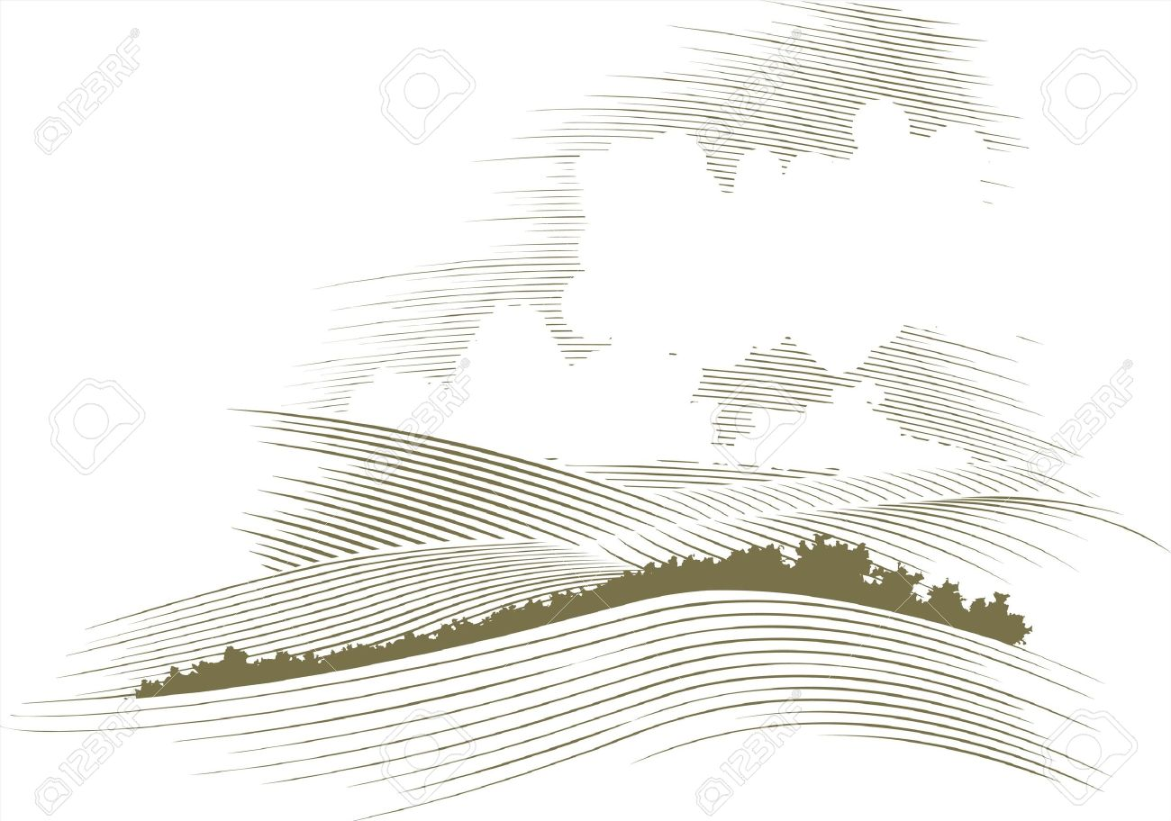 Woodcut style illustration of a skyscape. - 7589298