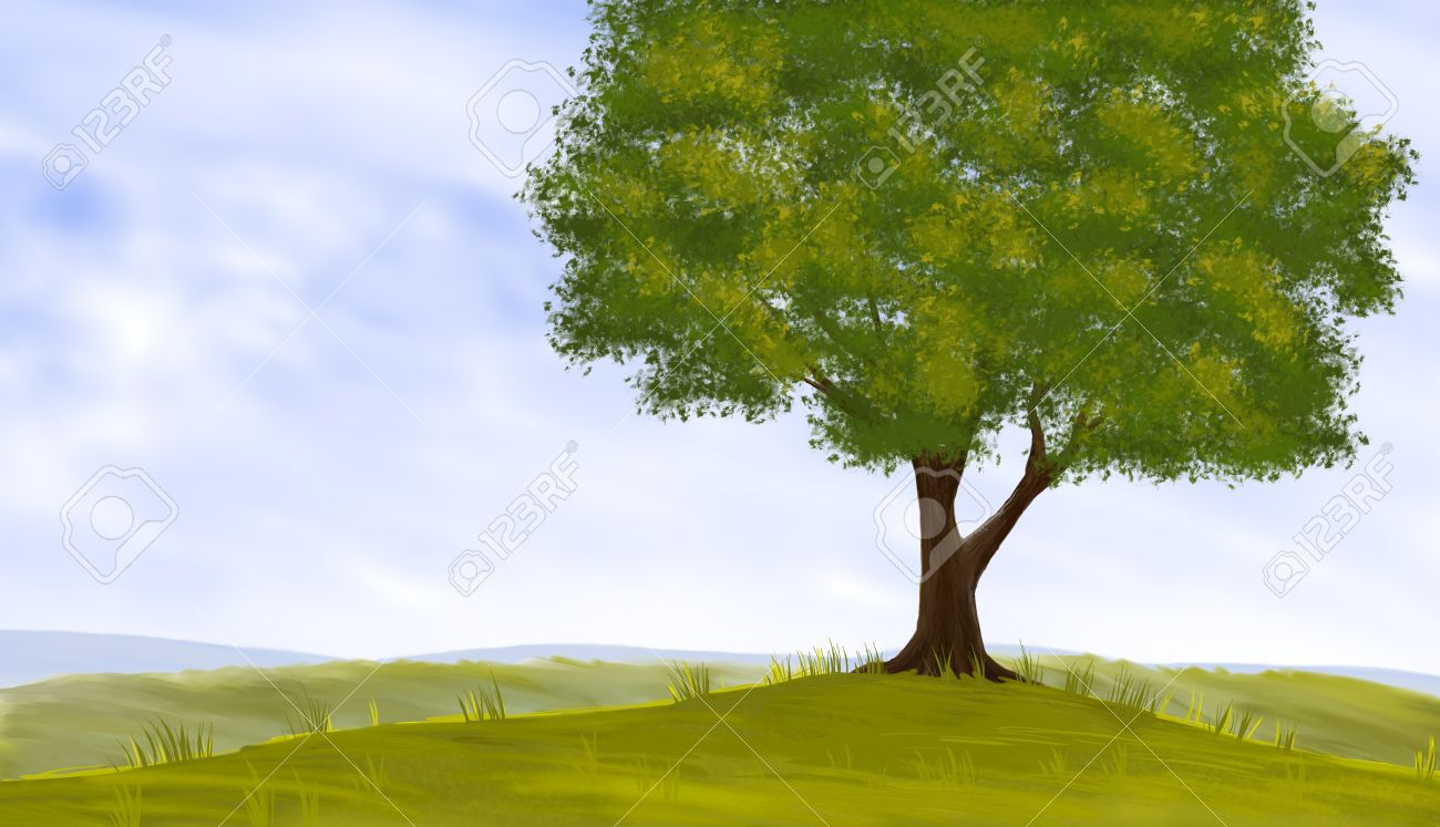 Digital painting of a tree landscape Stock Photo - 13786742