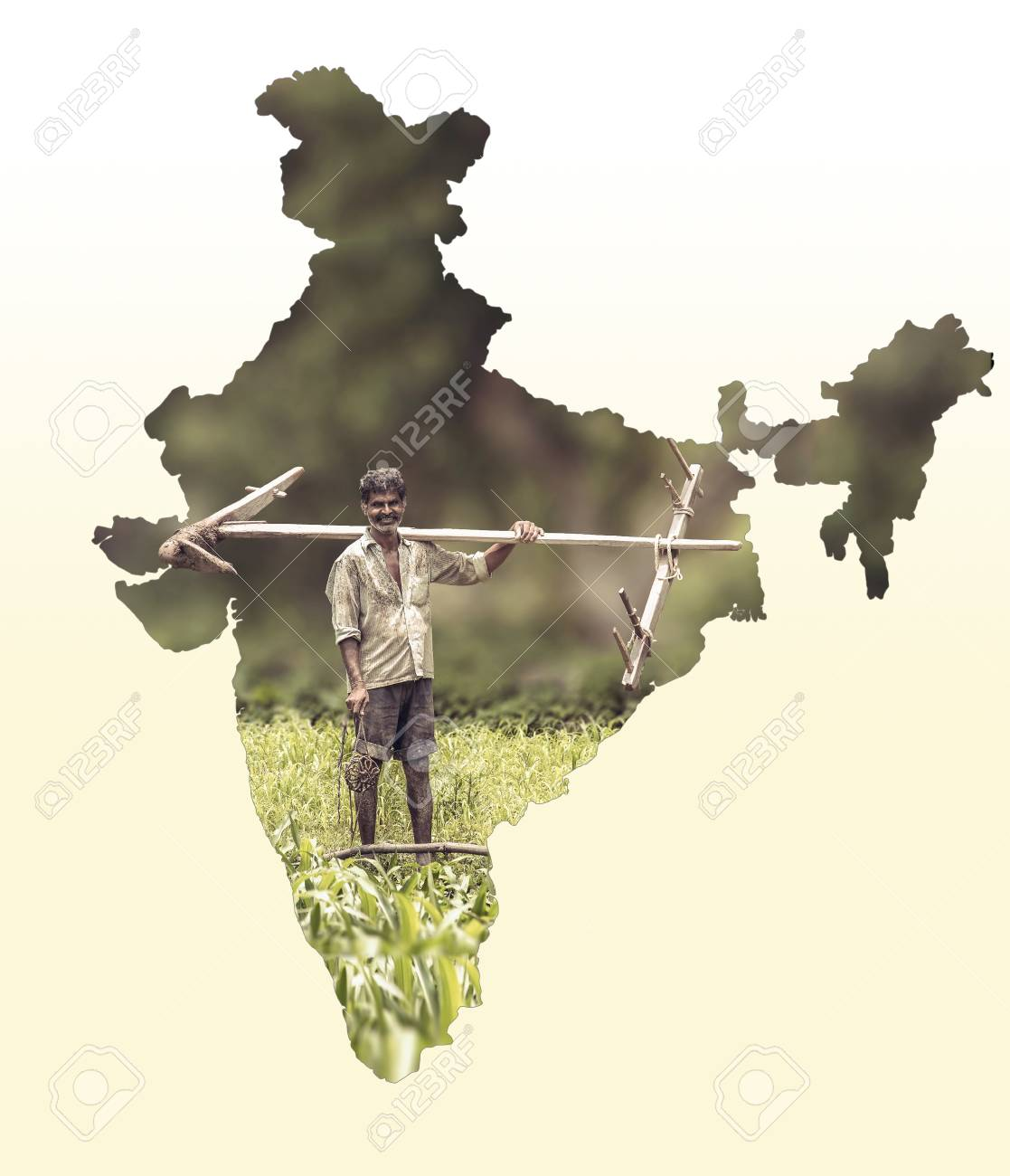 Map of India shows Indian farmer portrait holding plow on white.. Show Indian Map on show indian flag, live indian map, sketch indian map, search indian map, great indian map, open indian map, good indian map,
