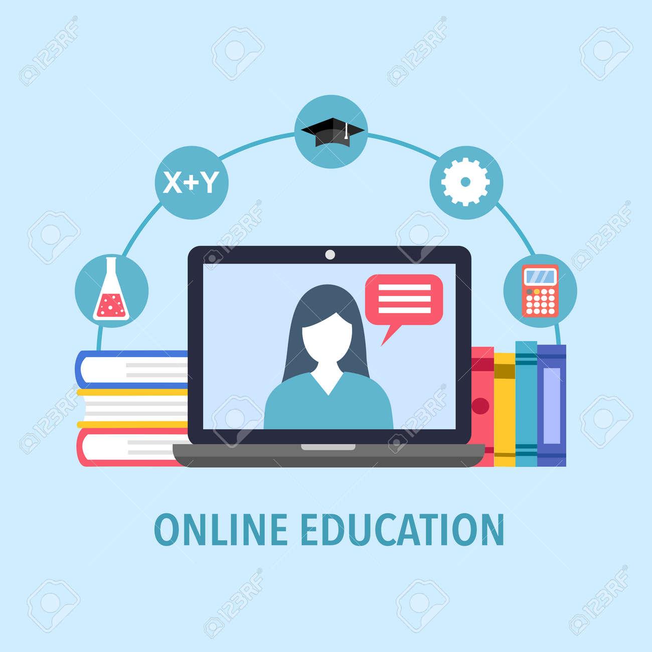 Online education concept vector illustration. Digital school. Teacher is teaching on computer via internet. Design for website, banner, poster. - 159397258