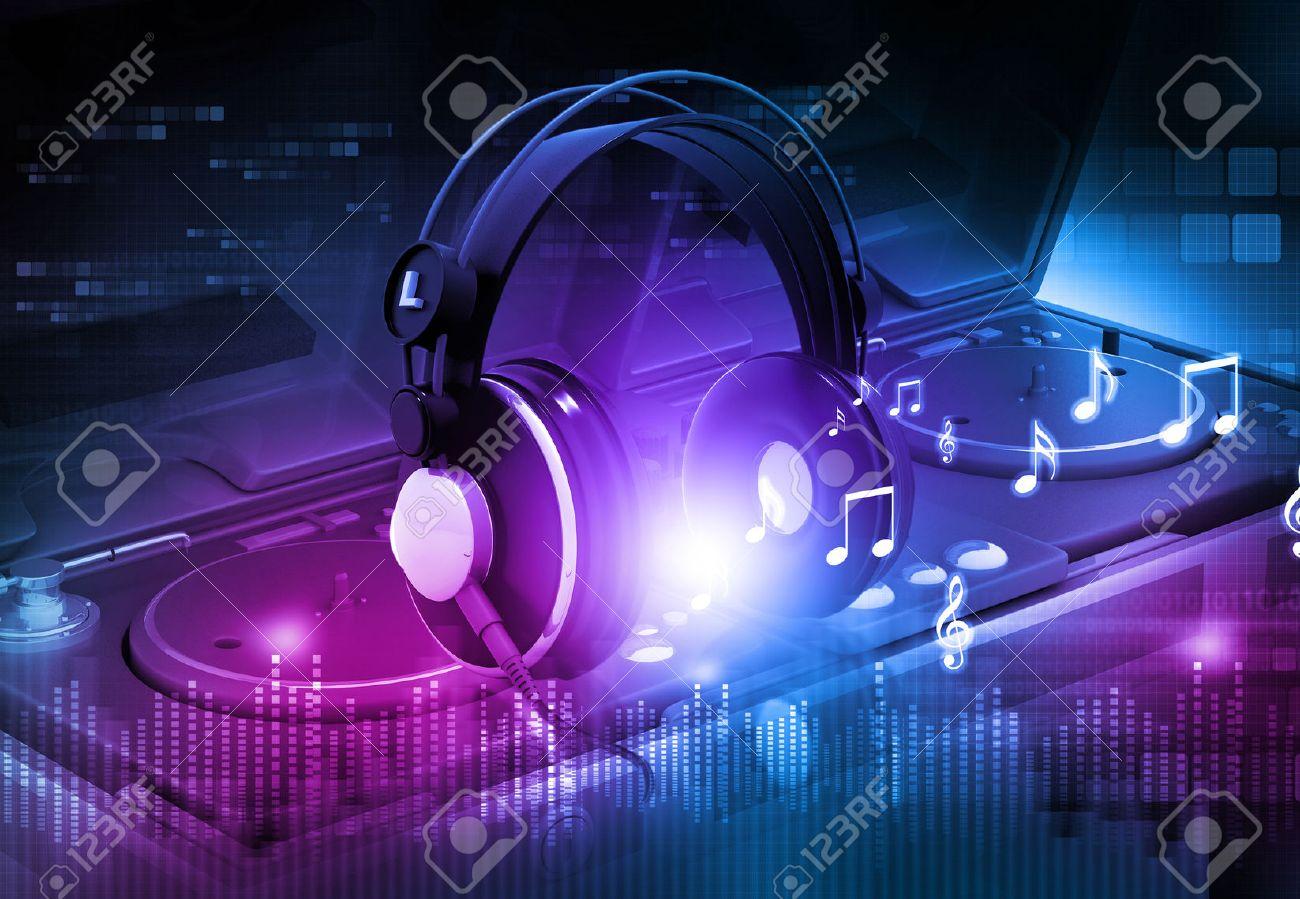 dj mixer with headphones dj party background stock photo picture
