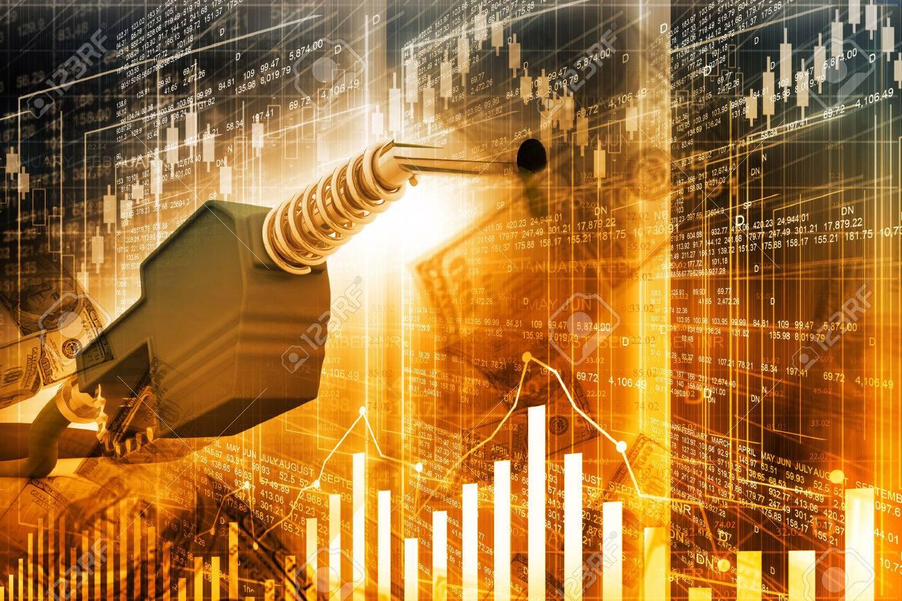 Oil price graph, oil pump nozzle and stock market chart - 40449409