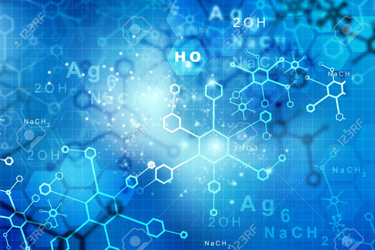 abstract molecules science and technology background stock photo