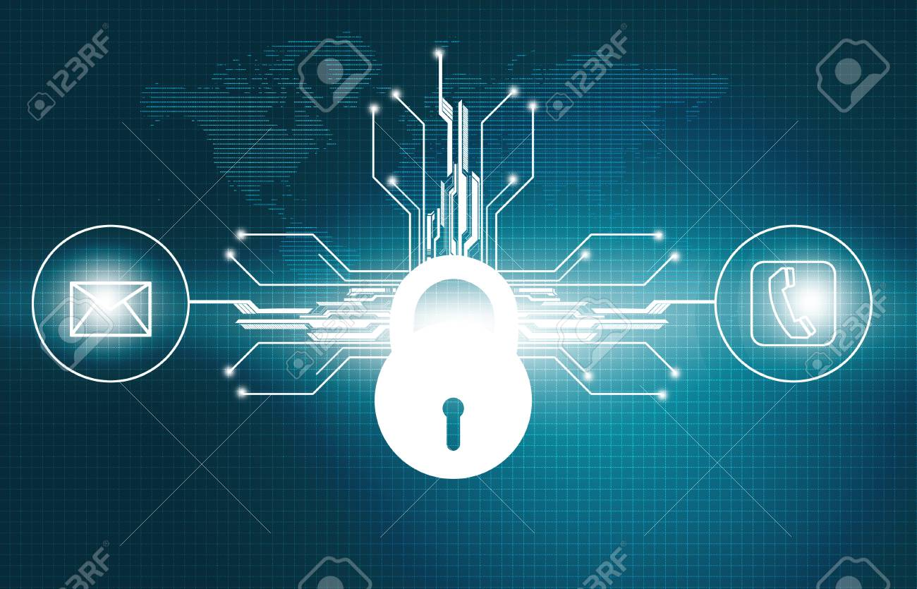 Cyber Security Concept, Circuit Board With Closed Padlock. Digital ...