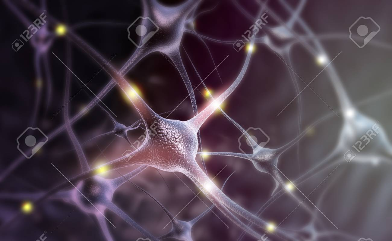 Neuron cells on abstract blue background. 3d illustration - 109700357