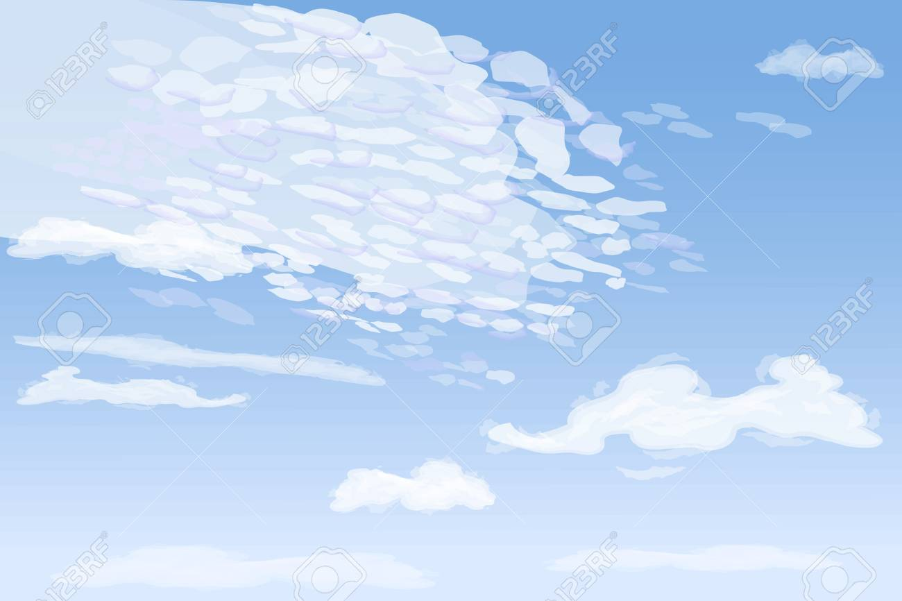 Daytime sky with high spindrift clouds, vector illustration