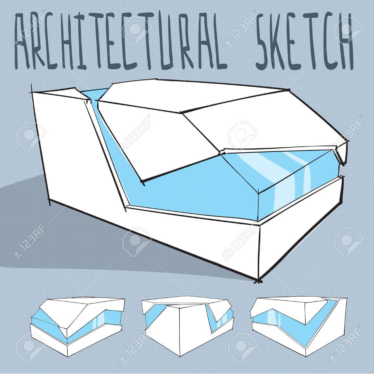 Architektur Skizze Minimalistisch Modernen Gebäude Vektor Lizenzfrei