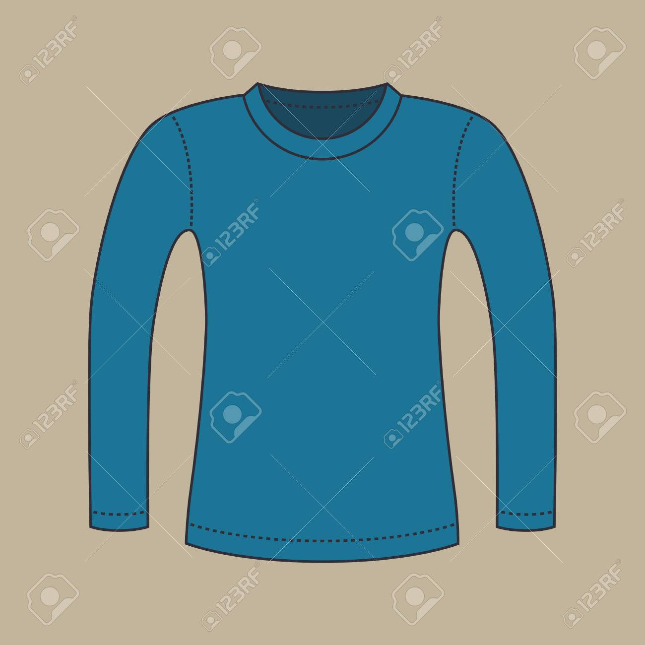 Color Silhouette Of A Blank Blue Shirt With Long Sleeves, Isolated ...