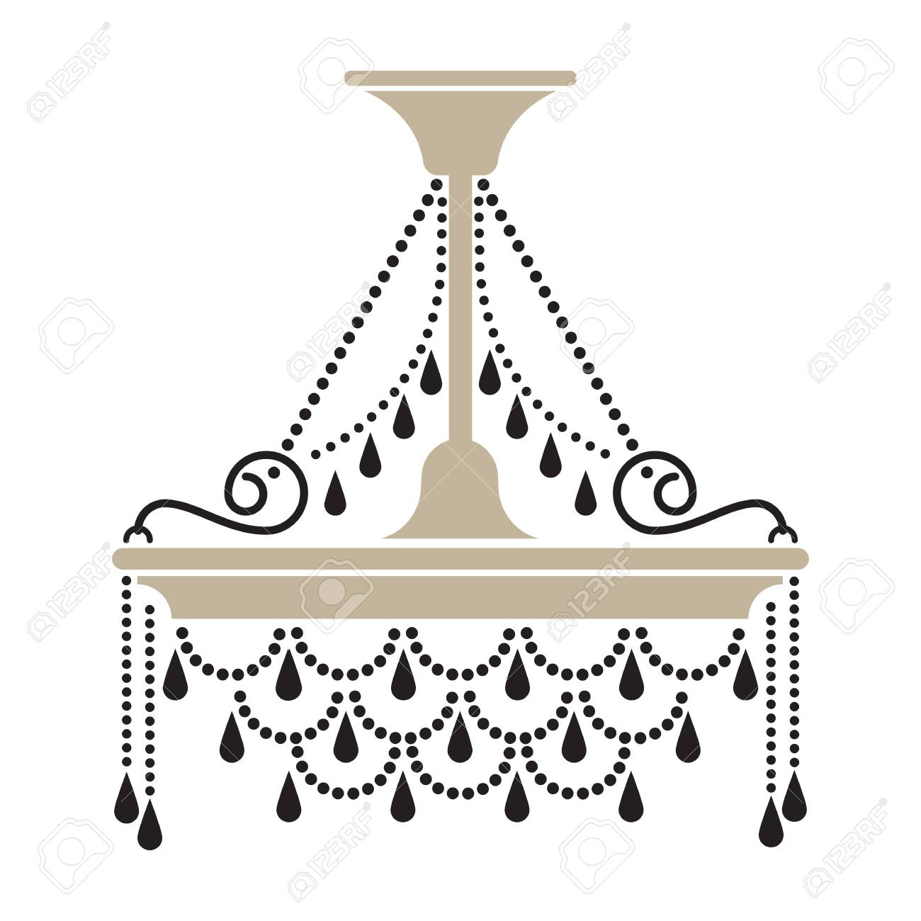 Crystal Chandelier Silhouette Vector Illustration Stock