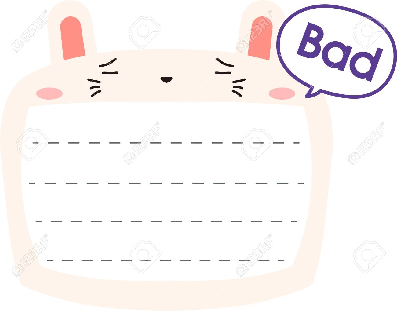 This is a illustration of Cute Rabbit noteboard - 132156935