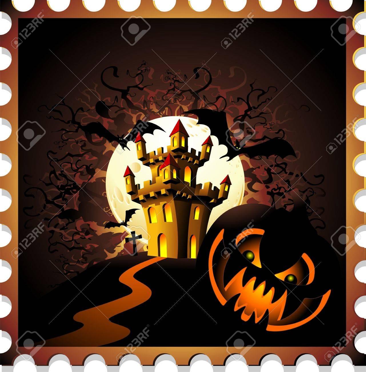 Halloween Pumpkin and Castle Stamp Background Stock Vector - 10594724