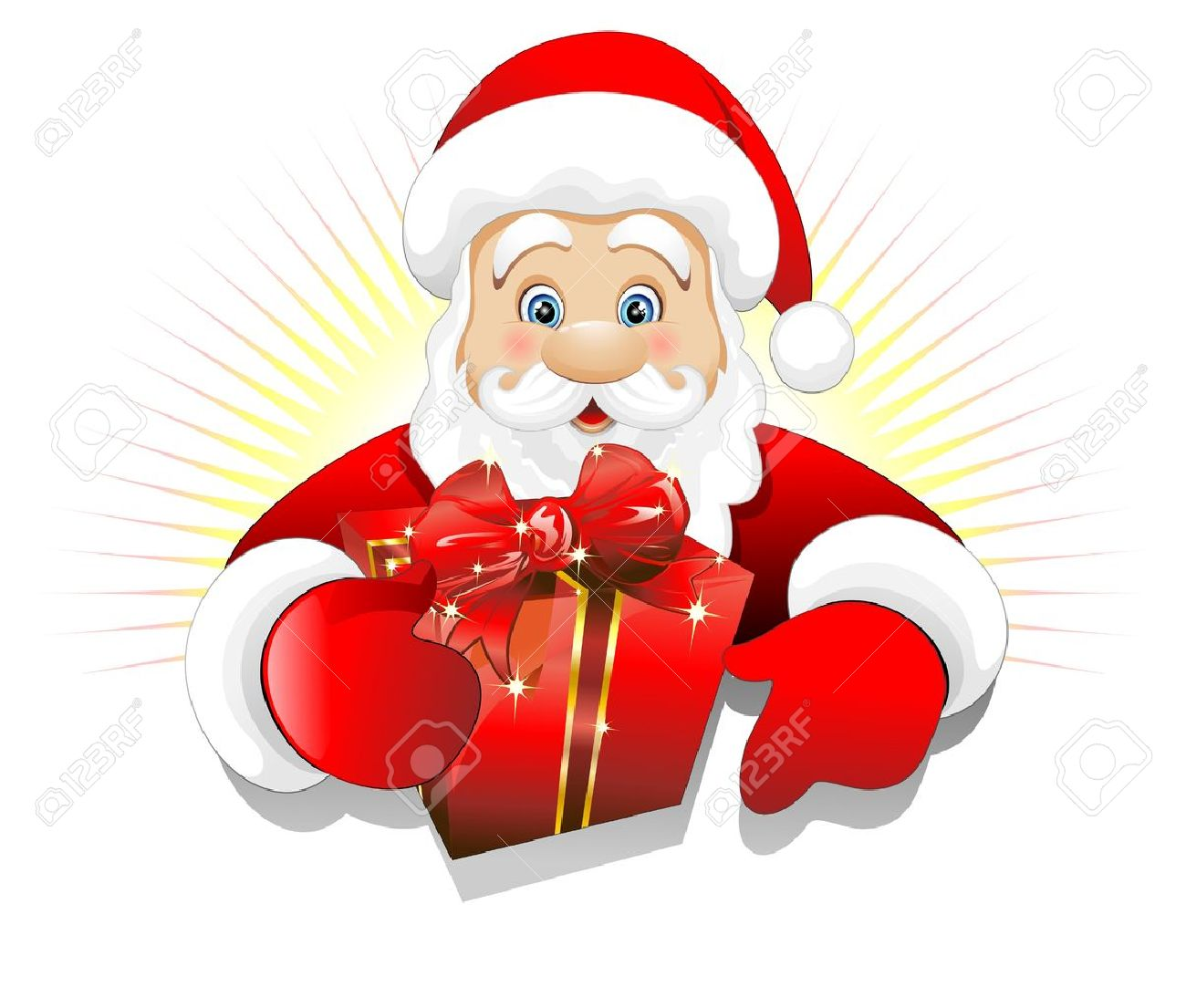 Christmas Santa Claus With Gift Present Background Royalty Free ...
