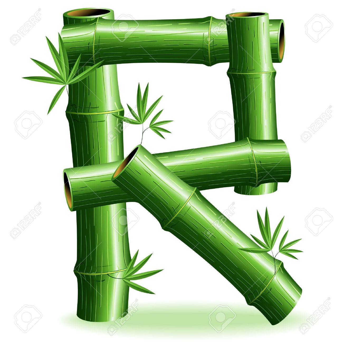 Bamboo Logo Letter Sign R Stock Vector - 14562272